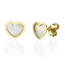 Stud Earring in Yellow Gold - Mother of Pearl Heart