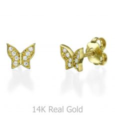 Stud Earring in Yellow Gold - Ashton Butterfly