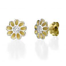 Stud Earring in White & Yellow Gold - Sunshine Flower
