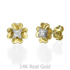 Stud Earring in Yellow Gold - Rosebud