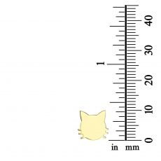 Yellow Gold Stud Earrings - Whiskered Cat
