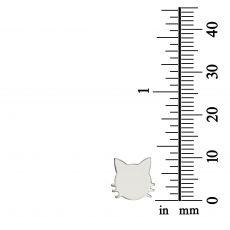 White Gold Stud Earrings -Whiskered Cat