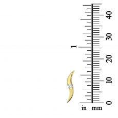 Yellow Gold Stud Earrings - Shiny Waves