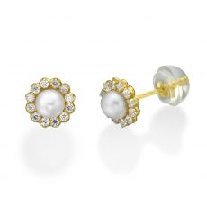 Gold Stud Earrings -  Sparkling Pearl