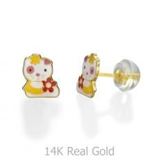 Gold Stud Earrings -  Charming Cat