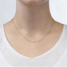 "14K Rose Gold Spiga Chain Necklace 0.8mm Thick, 16.5"" Length"