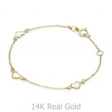 14K Gold Girls' Bracelet - Mother-of-Pearl Hearts