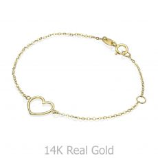 14K Gold Girls' Bracelet - Shining Heart