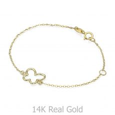 14K Gold Girls' Bracelet - Shining Butterfly