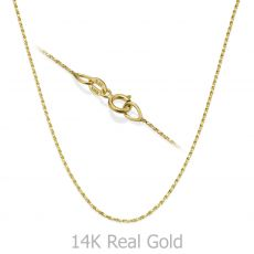 """14K Yellow Gold Twisted Venice Chain Necklace 0.6mm Thick, 15"""" Length"""