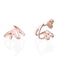 Stud Earrings in 14K Rose Gold - Flame & Fire