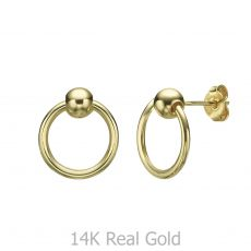 Stud Earrings in 14K Yellow Gold - Upper Sphere