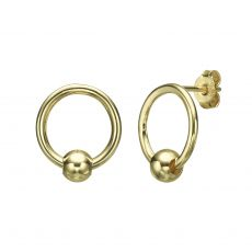 Stud Earrings in 14K Yellow Gold - Lower Sphere