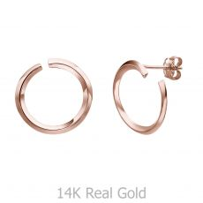 Stud Earrings in 14K Rose Gold  - Sunrise - Large