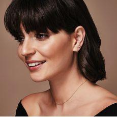 Stud Earrings in 14K White Gold - Golden Cubes