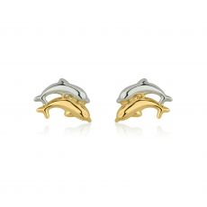 Stud Earrings in 14K White & Yellow Gold - Leaping Dolphin