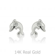 White Gold Stud Earrings -  Sparkling Dolphin