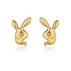 Stud Earrings in 14K Yellow Gold - Sweet Rabbit