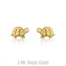 14K Yellow Gold Kid's Stud Earrings - Torti Tortoise