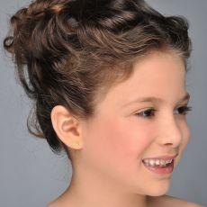 14K Yellow Gold Kid's Stud Earrings - Snail