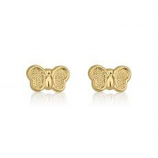 14K Yellow Gold Kid's Stud Earrings - Butterfly