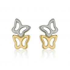14K White & Yellow Gold Kid's Stud Earrings - Butterfly in Two Colors
