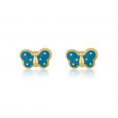 14K Yellow Gold Kid's Stud Earrings - Fluttering Butterfly