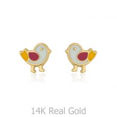 14K Yellow Gold Kid's Stud Earrings - Cheeky Chick