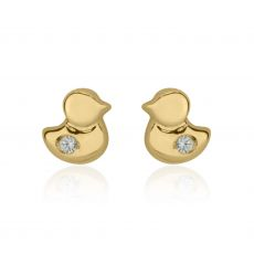 14K Yellow Gold Kid's Stud Earrings - Sparkling Chick