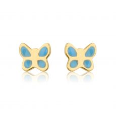 14K Yellow Gold Kid's Stud Earrings - Blue Butterfly