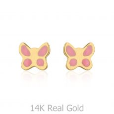 14K Yellow Gold Kid's Stud Earrings - Pink Butterfly
