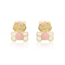 Stud Earrings in 14K Yellow Gold - Kitty Kat