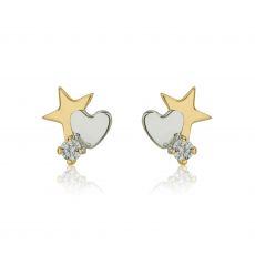 14K Yellow Gold Kid's Stud Earrings - Twinkling Star