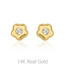 14K Yellow Gold Kid's Stud Earrings - Tiny Flowering Star