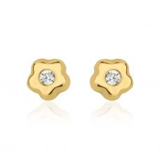 Stud Earrings in 14K Yellow Gold - Tiny Flowering Star