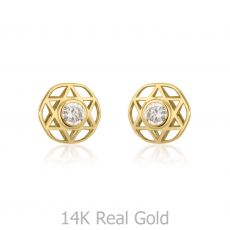 14K Yellow Gold Kid's Stud Earrings - Shooting Sparkling Star