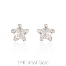 14K White Gold Kid's Stud Earrings - The North Star - Small