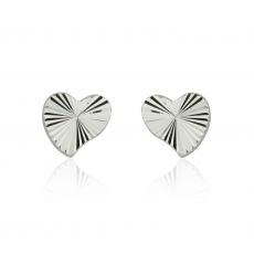 14K White Gold Kid's Stud Earrings - Noted Heart