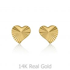 14K Yellow Gold Kid's Stud Earrings - Noted Heart