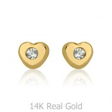 Stud Earrings in 14K Yellow Gold - Sparkling Heart - Small