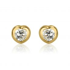 14K Yellow Gold Kid's Stud Earrings - Shining Heart - Small