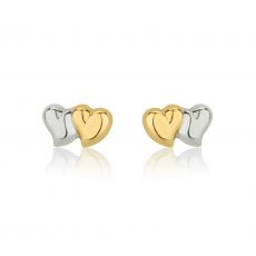 14K White & Yellow Gold Kid's Stud Earrings - Touching Hearts