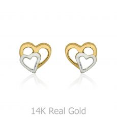 Gold Stud Earrings -  Joined Hearts