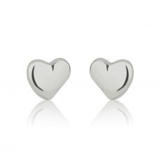 14K White Gold Kid's Stud Earrings - Classic Heart - Small