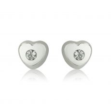 14K White Gold Kid's Stud Earrings - Sparkling Heart - Small