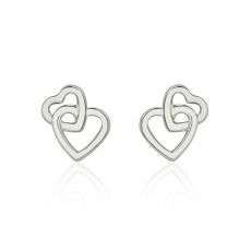 14K White Gold Kid's Stud Earrings - United Hearts