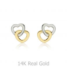 Stud Earrings in 14K White & Yellow Gold - Hearts Intertwined