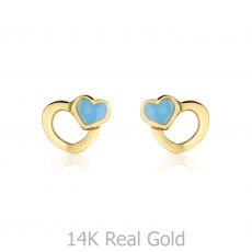 14K Yellow Gold Kid's Stud Earrings - Beloved Hearts