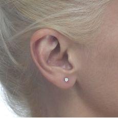 White Gold Stud Earrings -  Circle of Splendor - Small