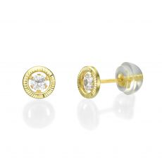 14K Yellow Gold Kid's Stud Earrings - Crystal Circle